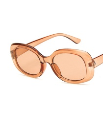 Fashion Champagne Box Tea Slices Wide-sided Round Frame Resin Sunglasses