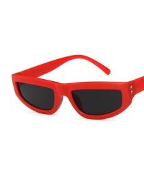 Fashion Big Red Frame Gray Piece Square Mi Nail Small Frame Metal Hinge Sunglasses