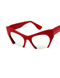 Fashion Red And White Mercury Trimmed Cat-eye Bow Resin Sunglasses