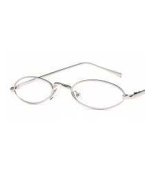 Fashion Silver Color Frame White Film Small Drop Oval Frame Alloy Sunglasses