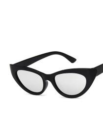 Fashion Bright Black And White Mercury Cat Eye Small Frame Resin Sunglasses