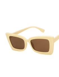 Fashion Beige Tea Slices Dish-shaped Resin Small Frame Sunglasses
