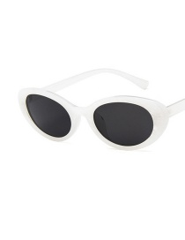 Fashion (jade Color) White Shell Gray Flakes Oval Cat-eye Resin Sunglasses