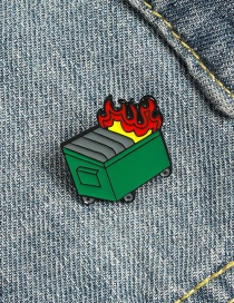 Fashion Green Trash Can Alloy Brooch With Dripping Oil On Fire