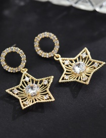 Fashion Earring Star Diamond Round Earrings