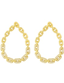 Fashion White Zirconium Geometric Drop Chain Earrings With Diamonds