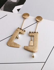 Fashion Gold Color Asymmetrical Pearl Geometric Alloy Earrings