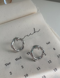 Fashion Silver Color Bump Texture Irregular Geometric Hollow Circle Earrings
