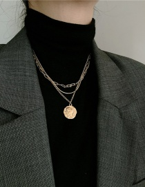 Fashion Gold Color Double Tiered Coin Head Necklace With Medal