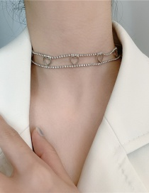 Fashion Silver Color Double Rhinestone Heart Hollow Alloy Necklace