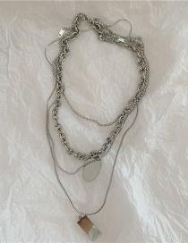 Fashion Silver Color Titanium Steel Garden Pendant Geometric Multi-layer Necklace
