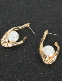 Fashion Gold Color Alloy Inlaid Pearl Irregular Geometry Earrings