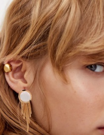 Fashion Gold Color Pearl Alloy Tassel Round Earrings