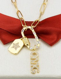 Fashion Gilded Screw Buckle Letter Five-pointed Star Tag Necklace