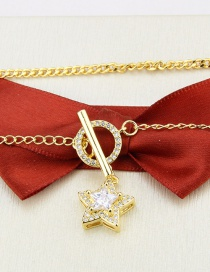 Fashion Gilded Gold-plated Five-pointed Star Inlaid Zircon Ring Lock Pendant Necklace