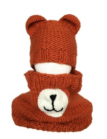 Fashion Bear Orange Two-piece Antler Bear Child Hat And Scarf