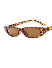 Fashion Leopard Tea Chips Oval Frame Water Drop Ink Metal Hinge Sunglasses
