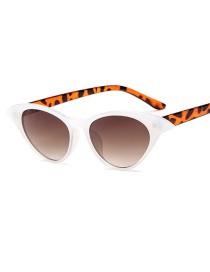 Fashion White Frame Double Tea Slices Cat-eye Metal Hinge Resin Sunglasses