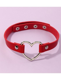 Fashion Scarlet Pu Leather Love Heart Alloy Hollow Geometric Necklace