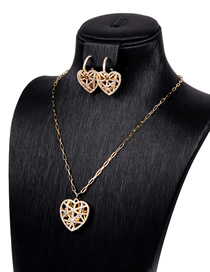 Fashion Suit Hollow Crystal Diamond Love Necklace Earrings Set