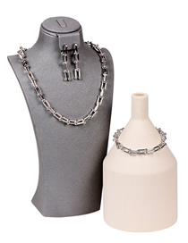 Fashion B White Gold Suit U-shaped Stitching Thick Chain Necklace Set Bracelet And Earrings