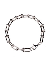 Fashion H White Gold Bracelet U-shaped Stitching Thick Chain Necklace Set Bracelet And Earrings