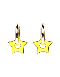 Fashion Yellow Earrings Thick Chain Drop Oil Five-pointed Star Earrings Necklace Bracelet Set