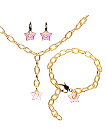 Fashion Pink Suit Thick Chain Drop Oil Five-pointed Star Earrings Necklace Bracelet Set