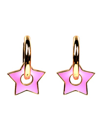 Fashion Pink Earrings Thick Chain Drop Oil Five-pointed Star Earrings Necklace Bracelet Set