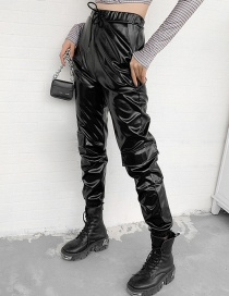 Fashion Black Skinny Micro-elastic Pu Strapped Slim Leather Pants