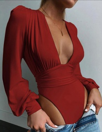 Fashion Red Wine Low-cut Solid Color Slim Long-sleeved Bodysuit