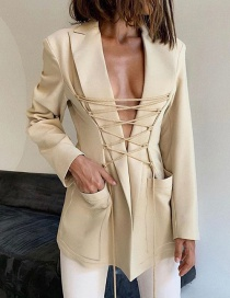 Fashion Apricot Mid-length Suit With Long Sleeves And Tie