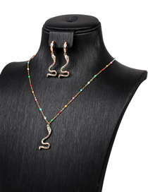 Fashion Suit Diamond Serpentine Alloy Necklace And Earrings