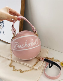 Fashion Pink Basketball Letter Print Chain Shoulder Messenger Bag
