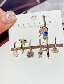 Fashion Gold Color Micro-inlaid Zircon Scallop And Starfish Geometric Earrings Set