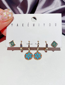 Fashion Gold Color Micro-inlaid Zircon Geometric Awning Star Earrings Set