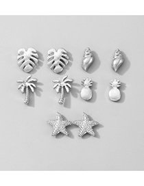Fashion Silver Color Suit Coconut Leaf Conch Starfish Pineapple Geometric Earrings Set
