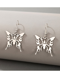 Fashion Silver Color Hollow Butterfly Alloy Earrings