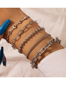 Fashion Silver Color Thick Chain Round Bead Chain Alloy Geometric Bracelet Set