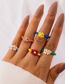Fashion Color Mixing Flower Woven Rice Bead Beaded Contrast Ring Set
