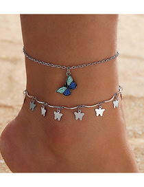 Fashion Silver Color Pendant Butterfly Alloy Multilayer Tassel Anklet