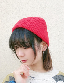 Fashion Red Pure Color Curled Warm Knitted Woolen Hat