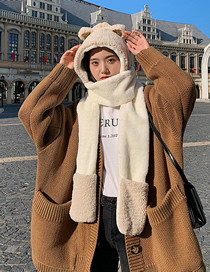 Fashion Beige Bear Plush Padded Hooded Scarf One