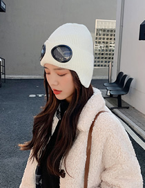 Fashion White Glasses Ear Protection Knitted Woolen Cap