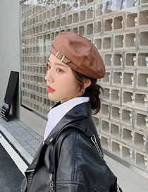 Fashion Caramel Colour Belt Buckle Solid Color Stitching Beret