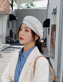 Fashion White Checked Fabric Beret