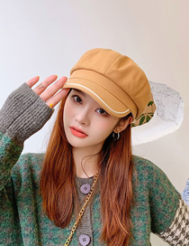 Fashion Khaki Woolen Stitching Octagonal Hat