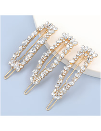Fashion Three-piece Suit Alloy Diamond-studded Geometric Hollow Hairpin Set