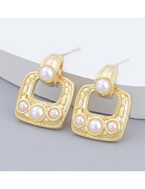 Fashion Gold Color Square Alloy Imitation Pearl Earrings