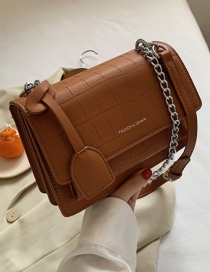 Fashion Brown Solid Color Chain Crossbody Shoulder Bag